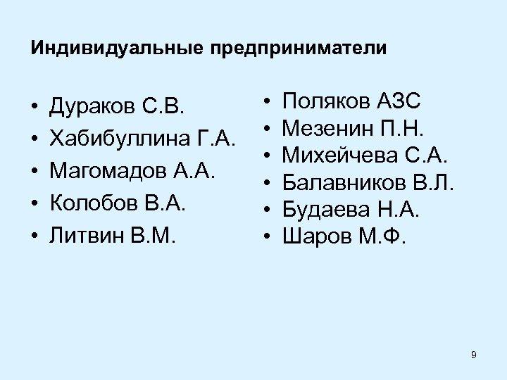 Индивидуальные предприниматели • • • Дураков С. В. Хабибуллина Г. А. Магомадов А. А.