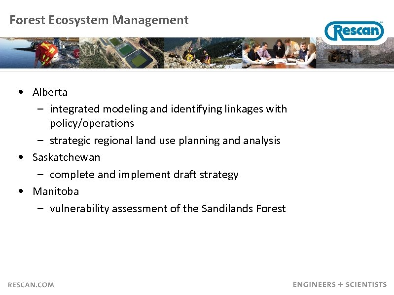 Forest Ecosystem Management • Alberta – integrated modeling and identifying linkages with policy/operations –