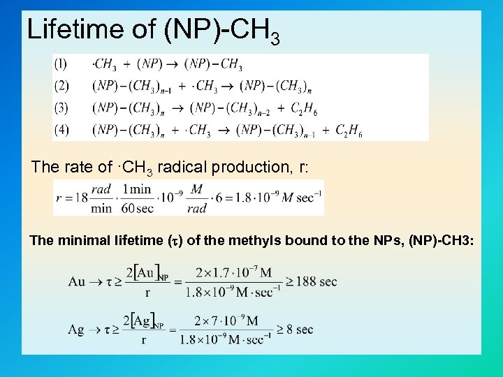 Lifetime of (NP)-CH 3 The rate of ·CH 3 radical production, r: The minimal