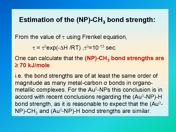 Estimation of the (NP)-CH 3 bond strength: From the value of using Frenkel equation,