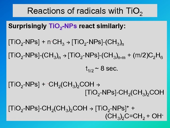 Reactions of radicals with Ti. O 2 Surprisingly Ti. O 2 -NPs react similarly: