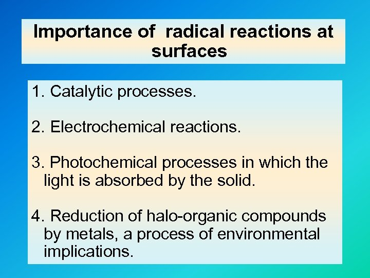 Importance of radical reactions at surfaces 1. Catalytic processes. 2. Electrochemical reactions. 3. Photochemical