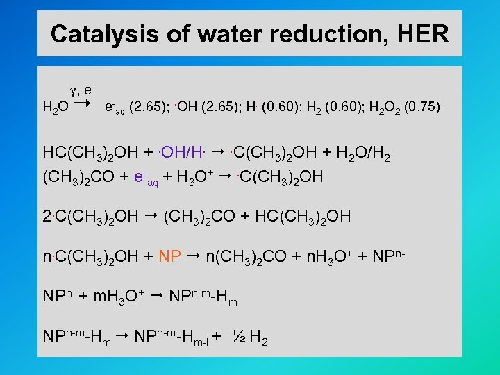 Catalysis of water reduction, HER , e. H 2 O e-aq (2. 65); .