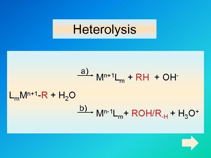 Heterolysis a) Mn+1 Lm + RH + OH- Lm. Mn+1 -R + H 2