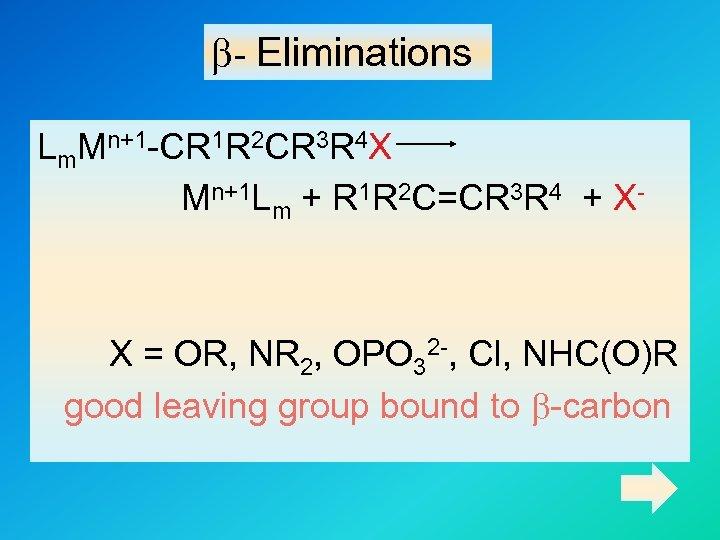 b- Eliminations Lm. Mn+1 -CR 1 R 2 CR 3 R 4 X Mn+1