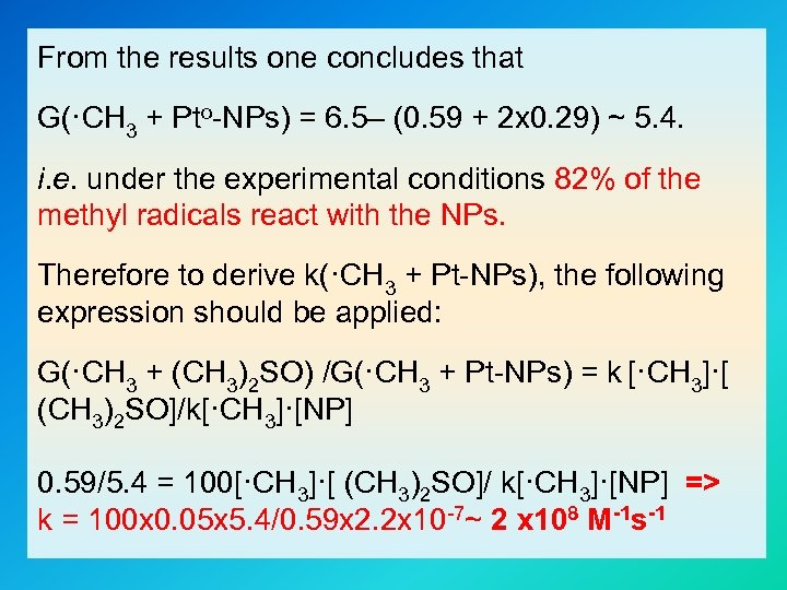 From the results one concludes that G(·CH 3 + Pto-NPs) = 6. 5– (0.
