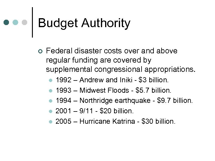 Budget Authority ¢ Federal disaster costs over and above regular funding are covered by