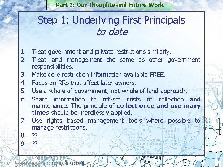 Part 3: Our Thoughts and Future Work Step 1: Underlying First Principals to date
