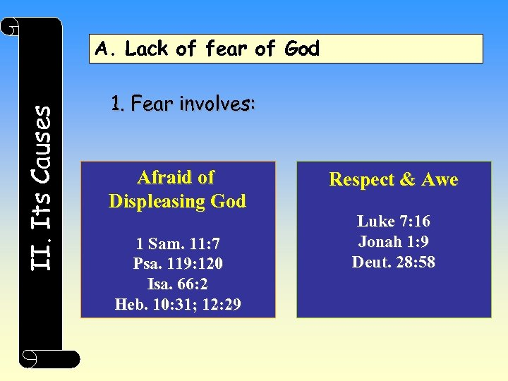 II. Its Causes A. Lack of fear of God 1. Fear involves: Afraid of