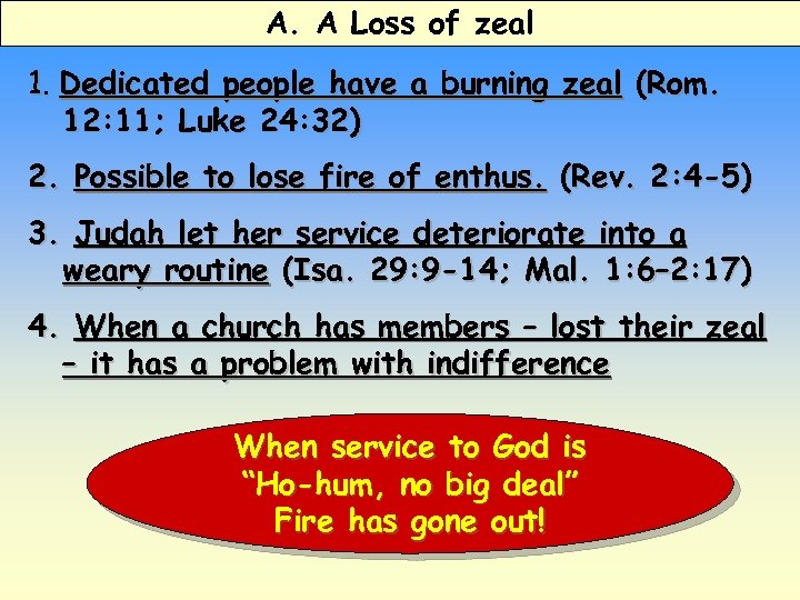 A. A Loss of zeal 1. Dedicated people have a burning zeal (Rom. 12: