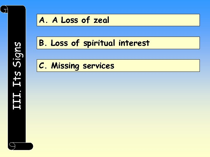 III. Its Signs A. A Loss of zeal B. Loss of spiritual interest C.