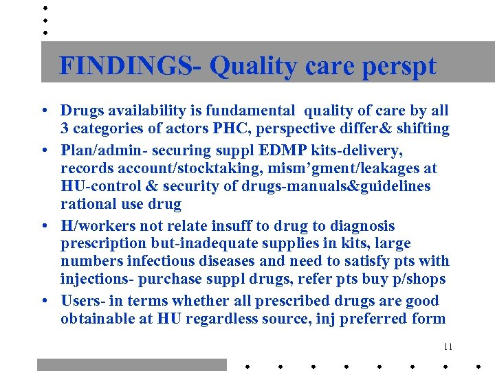 FINDINGS- Quality care perspt • Drugs availability is fundamental quality of care by all