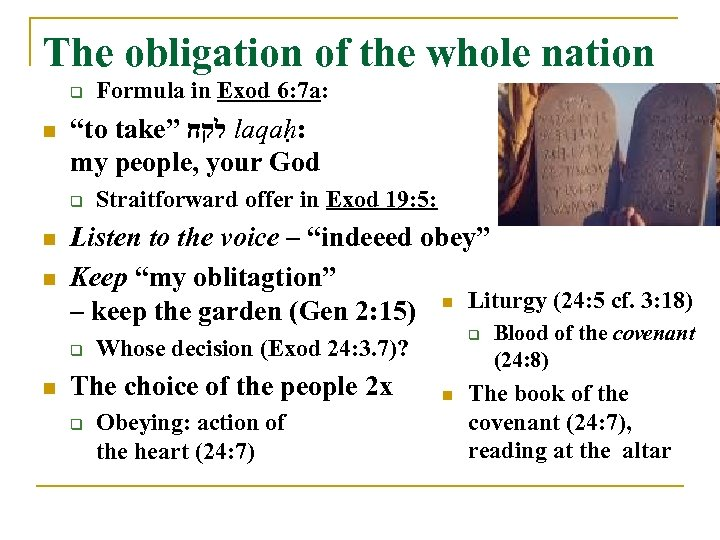 """The obligation of the whole nation q n """"to take"""" לקח laqaḥ: my people,"""