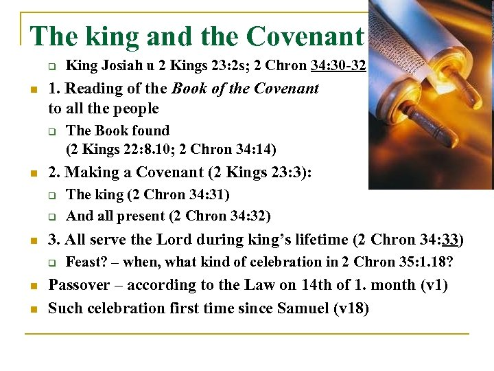The king and the Covenant q n 1. Reading of the Book of the