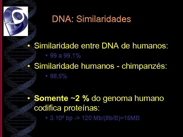 DNA: Similaridades • Similaridade entre DNA de humanos: • 99 a 99, 1% •