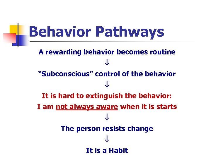 "Behavior Pathways A rewarding behavior becomes routine ""Subconscious"" control of the behavior It is"