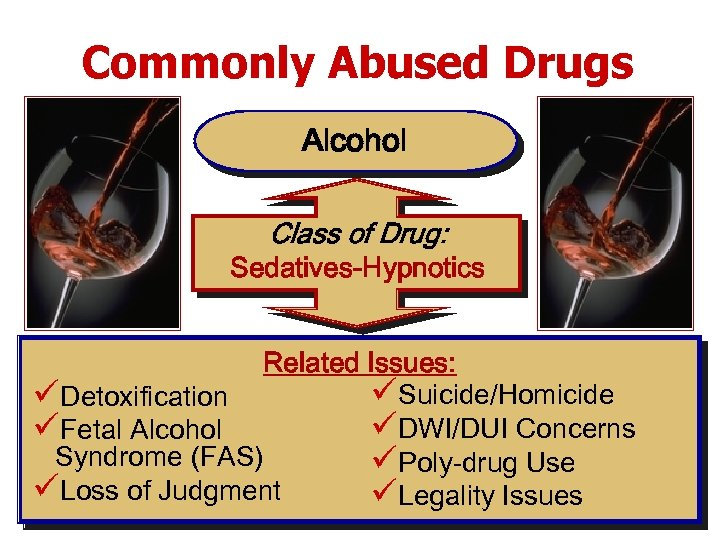 Commonly Abused Drugs Alcohol Class of Drug: Sedatives-Hypnotics Related Issues: üSuicide/Homicide üDetoxification üDWI/DUI Concerns