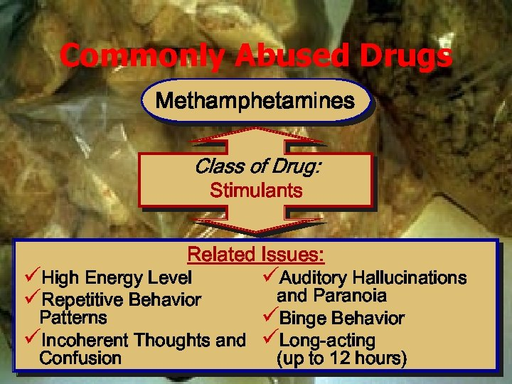 Commonly Abused Drugs Methamphetamines Class of Drug: Stimulants Related Issues: üHigh Energy Level üRepetitive