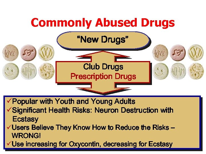 """Commonly Abused Drugs """"New Drugs"""" Club Drugs Prescription Drugs üPopular with Youth and Young"""