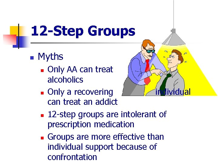 12 -Step Groups n Myths n n Only AA can treat alcoholics Only a