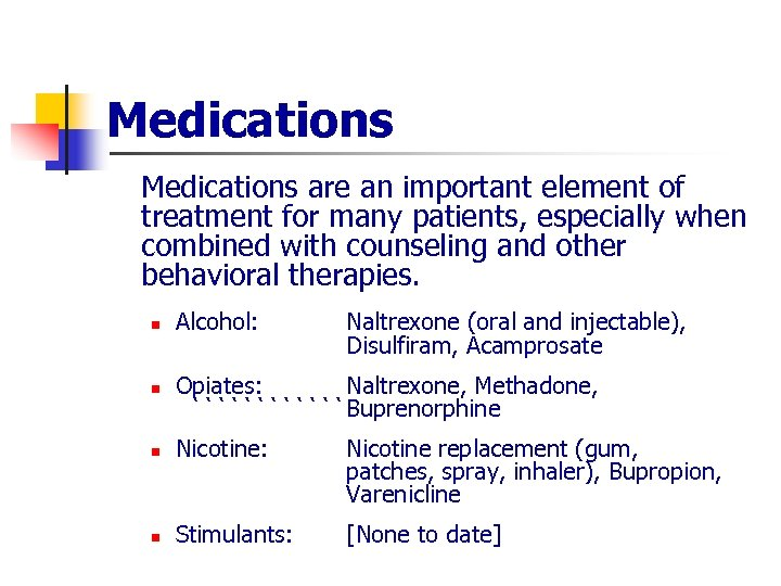 Medications are an important element of treatment for many patients, especially when combined with