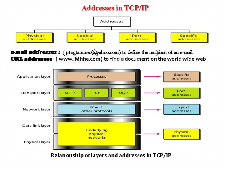 Addresses in TCP/IP e-mail addresses : ( programmer@yahoo. com) to define the recipient of