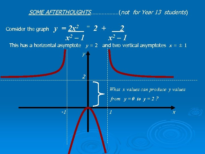 SOME AFTERTHOUGHTS………………(not for Year 13 students) y = 2 x 2 = 2 +