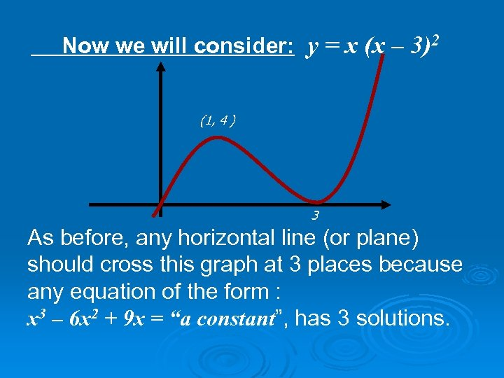 Now we will consider: y = x (x – 3)2 (1, 4 ) 3