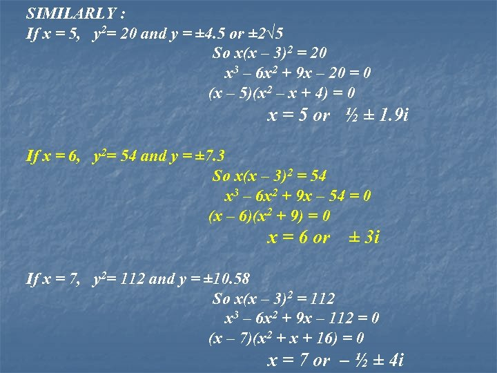 SIMILARLY : If x = 5, y 2= 20 and y = ± 4.