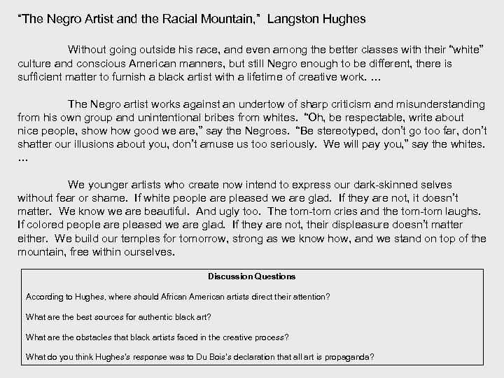 the negro artist and the racial mountain