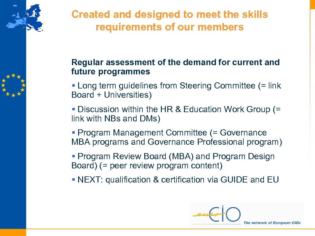Created and designed to meet the skills requirements of our members Regular assessment of