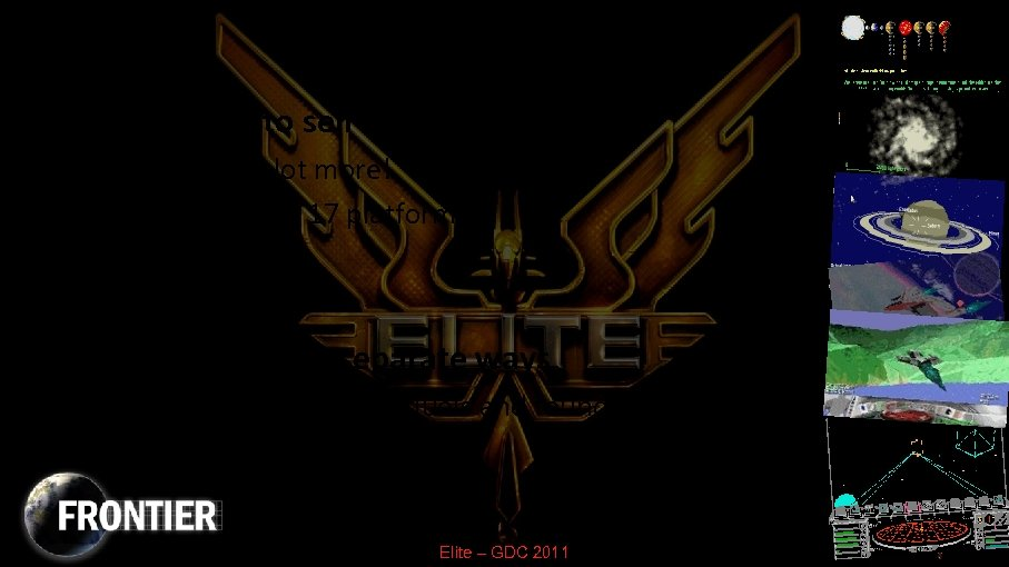 Afterwards • Elite went on to sell a million copies – And pirated a