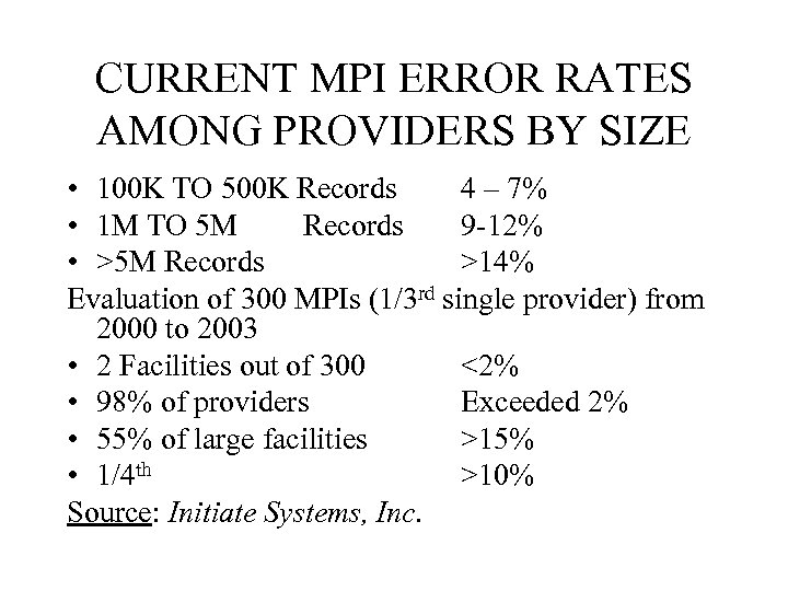CURRENT MPI ERROR RATES AMONG PROVIDERS BY SIZE • 100 K TO 500 K