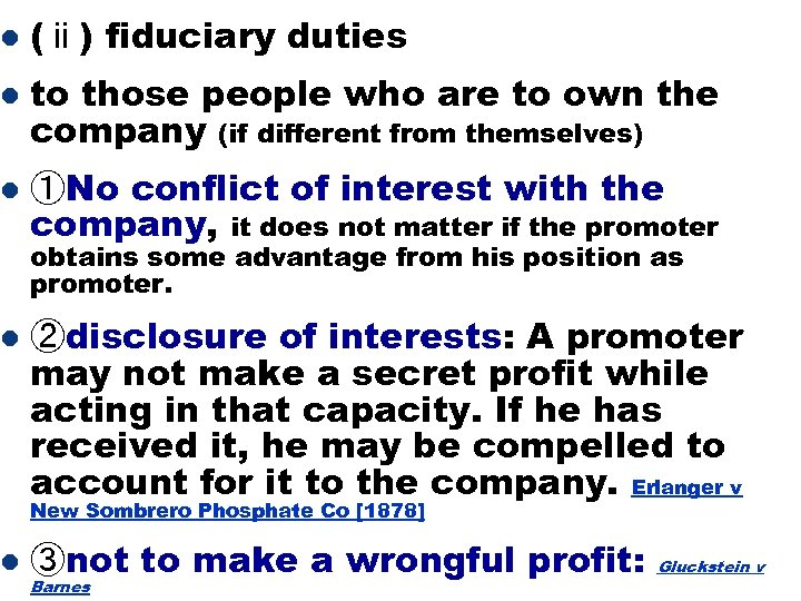 l (ⅱ) fiduciary duties l to those people who are to own the company