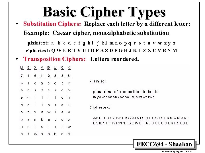 Basic Cipher Types • Substitution Ciphers: Replace each letter by a different letter: Example: