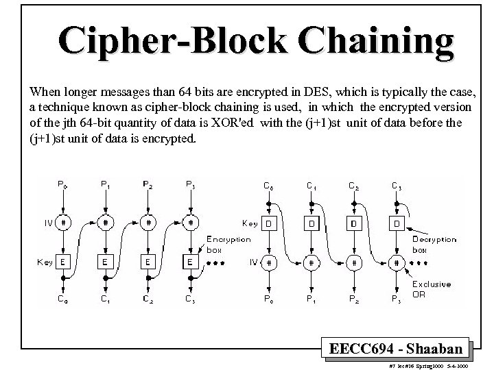 Cipher-Block Chaining When longer messages than 64 bits are encrypted in DES, which is