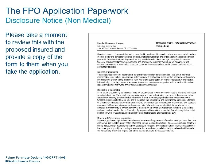 The FPO Application Paperwork Disclosure Notice (Non Medical) Please take a moment to review