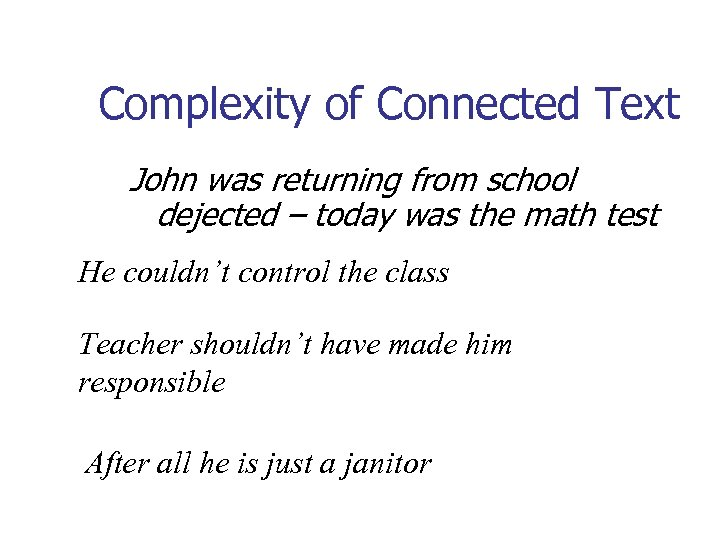 Complexity of Connected Text John was returning from school dejected – today was the