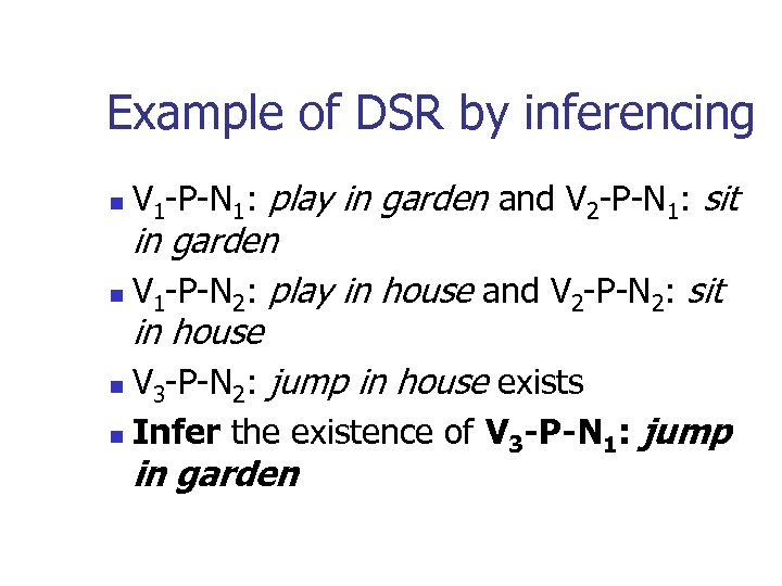 Example of DSR by inferencing n V 1 -P-N 1: play in garden and