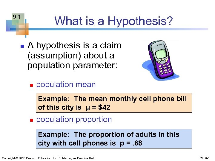 9. 1 n What is a Hypothesis? A hypothesis is a claim (assumption) about