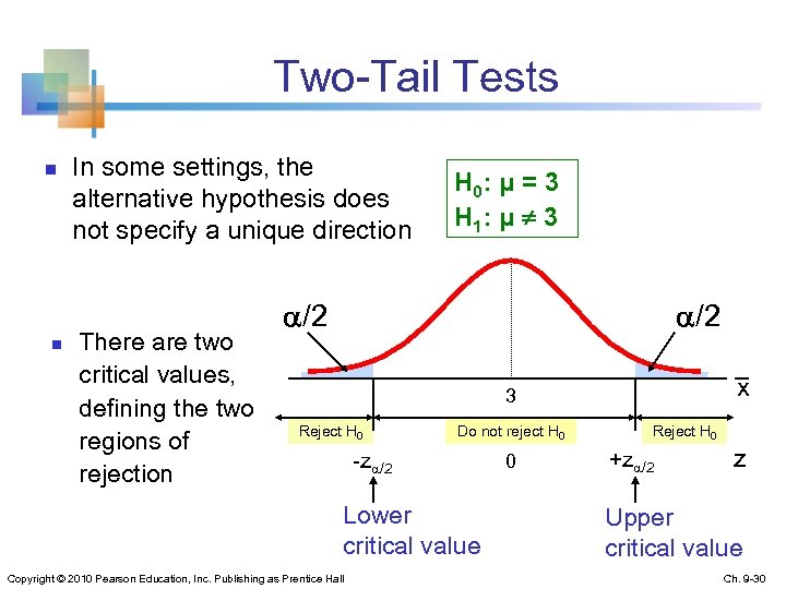 Two-Tail Tests n n In some settings, the alternative hypothesis does not specify a