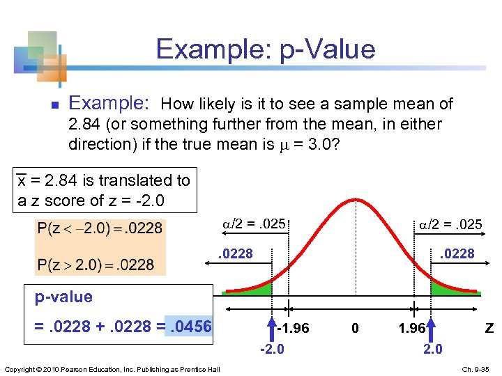 Example: p-Value n Example: How likely is it to see a sample mean of