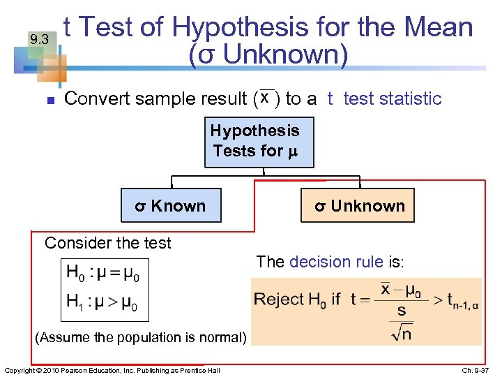 9. 3 n t Test of Hypothesis for the Mean (σ Unknown) Convert sample