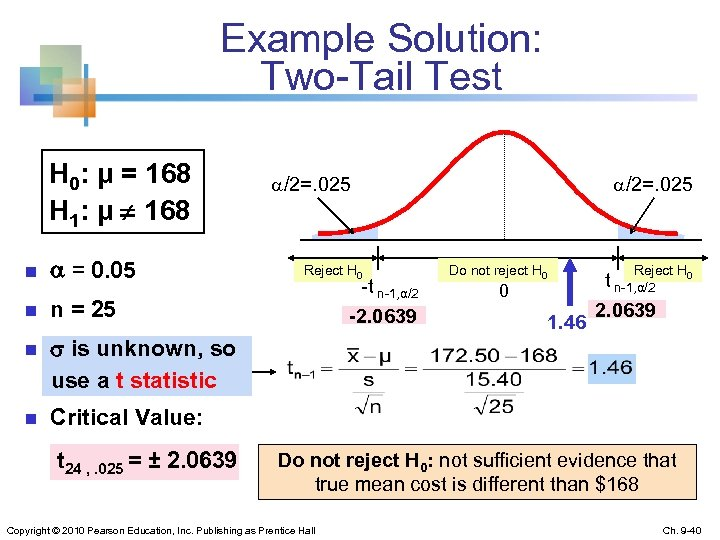 Example Solution: Two-Tail Test H 0: μ = 168 H 1: μ ¹ 168