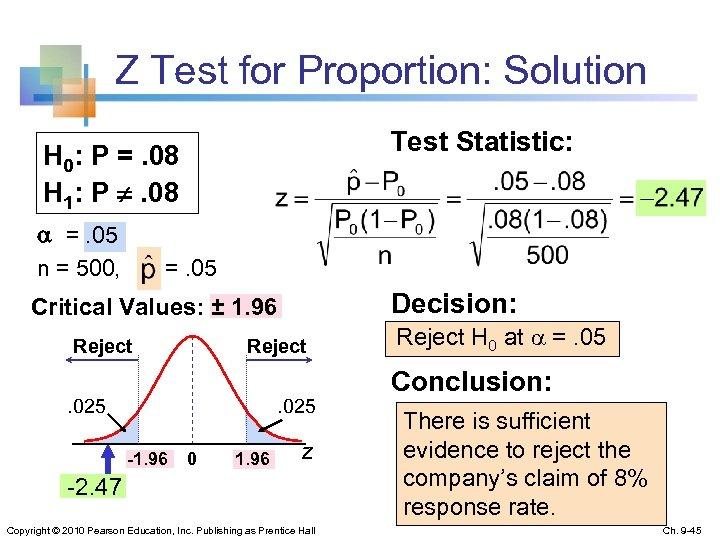 Z Test for Proportion: Solution Test Statistic: H 0: P =. 08 H 1: