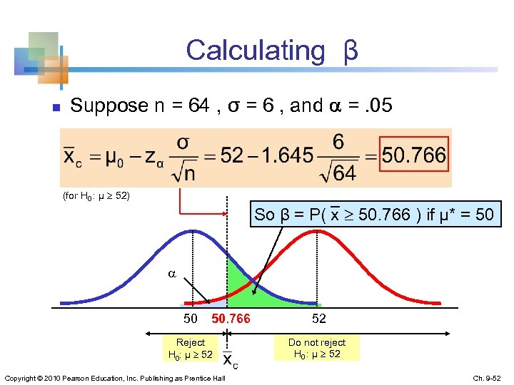 Calculating β n Suppose n = 64 , σ = 6 , and =.