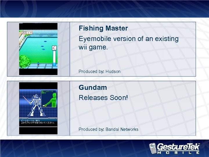 Fishing Master Eyemobile version of an existing wii game. Produced by: Hudson Gundam Releases