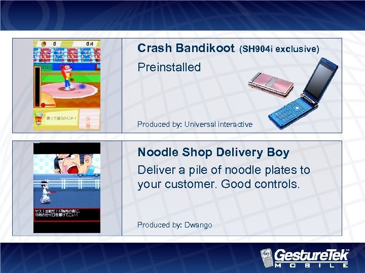 Crash Bandikoot (SH 904 i exclusive) Preinstalled Produced by: Universal interactive Noodle Shop Delivery