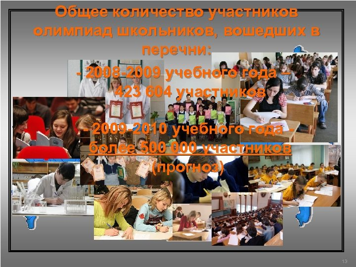 Общее количество участников олимпиад школьников, вошедших в перечни: - 2008 -2009 учебного года –