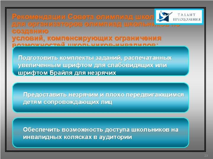 Рекомендации Совета олимпиад школьников для организаторов олимпиад школьников по созданию условий, компенсирующих ограничения возможностей